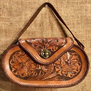 Vintage Handmade Embossed Leather Purse